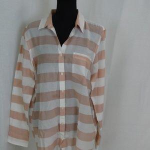 Cotton Wide Stripe Blouse - Banana Republic